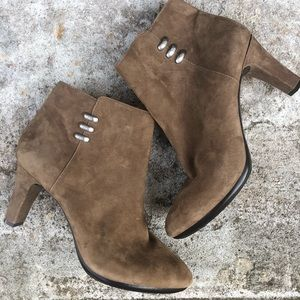 Anne Klein Suede Booties with Silver Size 10